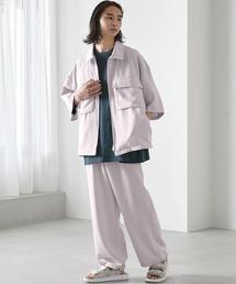 【セットアップ】TRストレッチ オーバーサイズ ビックポケット ジップシャツ(1/2 sleeve) & タックワイドパンツ -2021SUMMER-ライラック