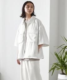 【セットアップ】TRストレッチ オーバーサイズ ビックポケット ジップシャツ(1/2 sleeve) & タックワイドパンツ -2021SUMMER-ホワイト