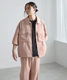 【セットアップ】TRストレッチ オーバーサイズ ビックポケット ジップシャツ(1/2 sleeve) & タックワイドパンツ -2021SUMMER-スモークピンク