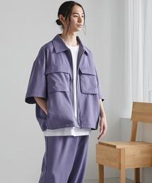 【セットアップ】TRストレッチ オーバーサイズ ビックポケット ジップシャツ(1/2 sleeve) & タックワイドパンツ -2021SUMMER-サックスブルー