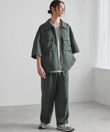 【セットアップ】TRストレッチ オーバーサイズ ビックポケット ジップシャツ(1/2 sleeve) & タックワイドパンツ -2021SUMMER-グリーン