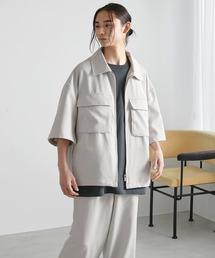 【セットアップ】TRストレッチ オーバーサイズ ビックポケット ジップシャツ(1/2 sleeve) & タックワイドパンツ -2021SUMMER-ライトグレー