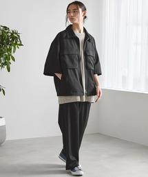 【セットアップ】TRストレッチ オーバーサイズ ビックポケット ジップシャツ(1/2 sleeve) & タックワイドパンツ -2021SUMMER-ブラック