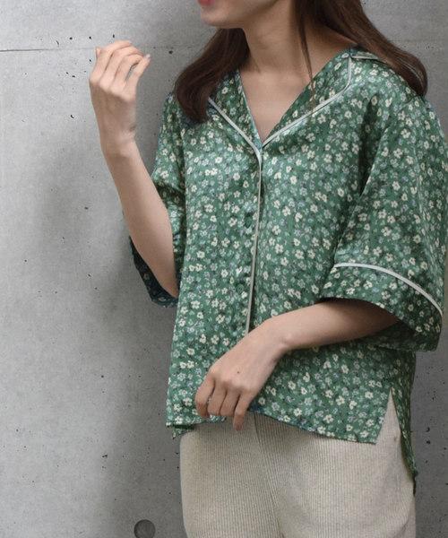 小花柄マットサテン開襟シャツ