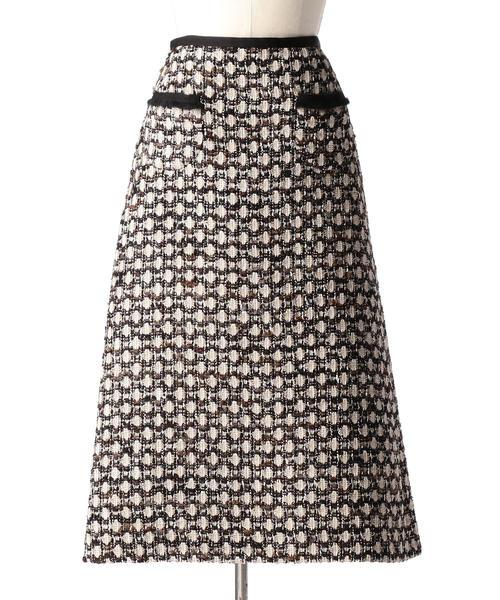Drawer ツイードフリンジスカート