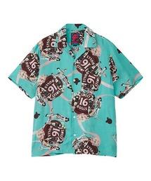 SWEET 16 DOLLS柄 オープンカラーシャツミント