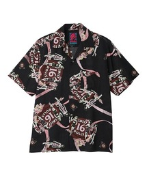 SWEET 16 DOLLS柄 オープンカラーシャツブラック