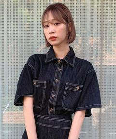 【titty&Co.PETIT】デニムステッチシャツ
