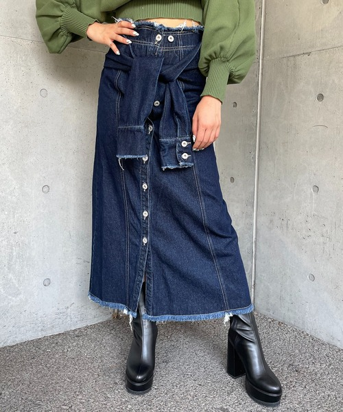 腰巻き風デニムロングスカート