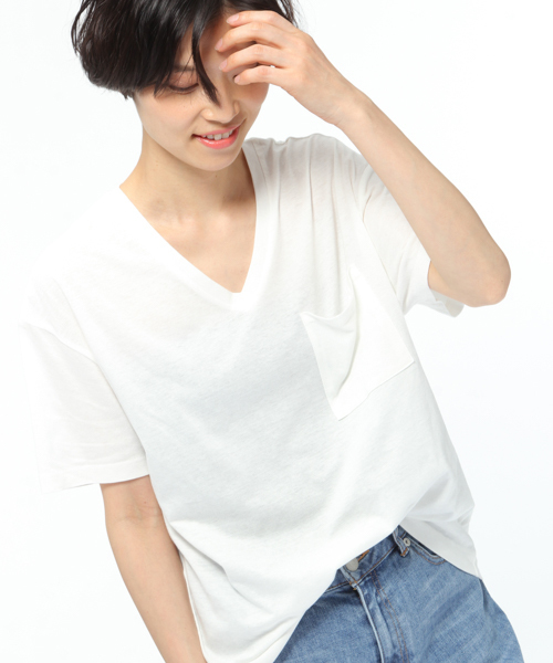【汗ジミ軽減】ポケット付きVネックTシャツ