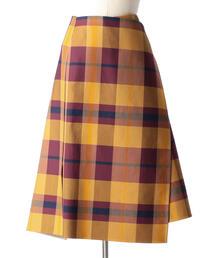 Drawer チェックダブルフェイスラップスカート