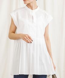 プリーツバンドカラーシャツホワイト