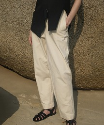 【LeonoraYang】Cotton set-up cropped pant chw1503アイボリー