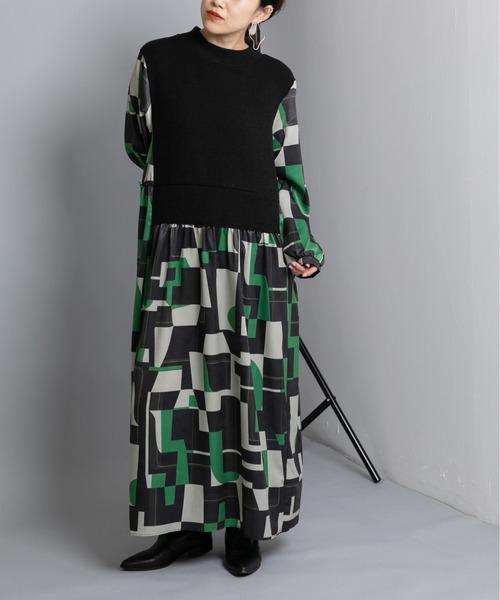 ドッキング幾何柄ドレス
