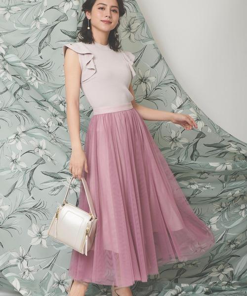 Noela(ノエラ)の「チュールマキシスカート(スカート)」 ピンク