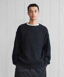 <H>SOLID WOOL WAFFFLE CREW NECK/ニット