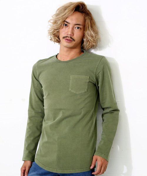 ピグメント加工ロング丈裾ラウンド長袖ポケットTシャツ