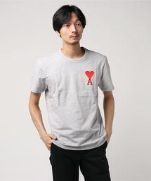 ami alexandre mattiussi (アミ アレクサンドル マテュッシ) / ワンポイント ロゴ刺繍 クルーネックTシャツ 19SS ビッグ AMI DE COEUR Tシャツ(Tシャツ/カットソー)