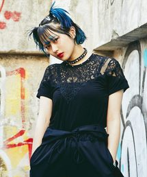 SPIDER LACE Tシャツブラック