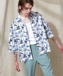 オーバーサイズドルマン プラントガラ オープンカラーS/Sシャツ EMMA CLOTHES 2021SUMMERホワイト系その他