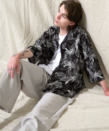 オーバーサイズドルマン プラントガラ オープンカラーS/Sシャツ EMMA CLOTHES 2021SUMMERブラック系その他