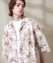 オーバーサイズドルマン プラントガラ オープンカラーS/Sシャツ EMMA CLOTHES 2021SUMMERベージュ系その他