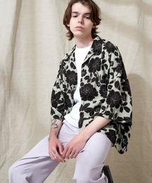 オーバーサイズドルマン プラントガラ オープンカラーS/Sシャツ EMMA CLOTHES 2021SUMMERグリーン系その他