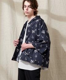 オーバーサイズドルマン プラントガラ オープンカラーS/Sシャツ EMMA CLOTHES 2021SUMMERブルー系その他