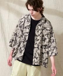 オーバーサイズドルマン プラントガラ オープンカラーS/Sシャツ EMMA CLOTHES 2021SUMMERブラック系その他2