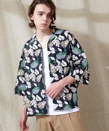 オーバーサイズドルマン プラントガラ オープンカラーS/Sシャツ EMMA CLOTHES 2021SUMMERブルー系その他2