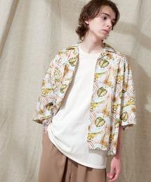 オーバーサイズドルマン プラントガラ オープンカラーS/Sシャツ EMMA CLOTHES 2021SUMMERブルー系その他3