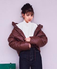 レザーライク中綿ショートジャケット