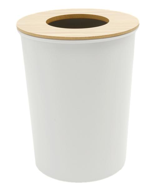 COLOR & WOOD DUST BOX カラー&ウッドフタ付きゴミ箱 ゴミ袋止めリング付