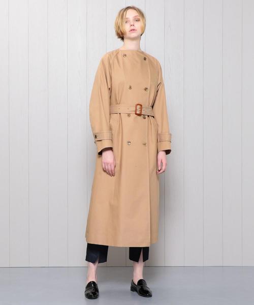 <H>TWILL NO COLLAR TRENCH COAT/コート ◆