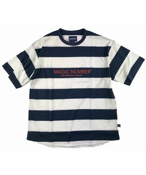 MAGIC NUMBER(マジック ナンバー)の「《ショップ限定》WIDE BOARDER TEE(Tシャツ/カットソー)」|ホワイト×ネイビー