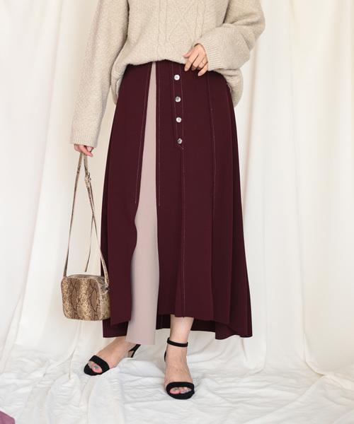 【Eimee Law】前ボタン配色ボンディングスカート