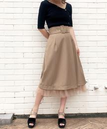 31 Sons de mode(トランテアン ソン ドゥ モード)の裾チュールツイルカーゴスカート(スカート)