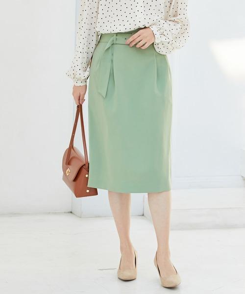 ViS(ビス)の「【EASY CARE】ハイウエストベルト付きタイトスカート(スカート)」|ライトグリーン