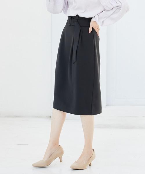 ViS(ビス)の「【EASY CARE】ハイウエストベルト付きタイトスカート(スカート)」|ブラック