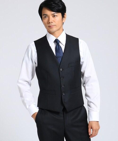 【Sサイズ~】シャドーオルタネイトストライプベスト Fabric by MIYUKI KEORI