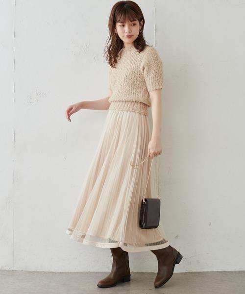 [natural couture] 【WEB限定・大好評リバイバルアイテム】裾べロアパイピングチュールプリーツスカート