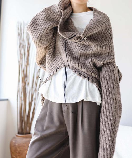 【chuclla】【2021/AW】Hand stitch 2way pullover knit chws21a01