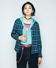 ROCKIN BONES刺繍 長袖オープンカラーSH