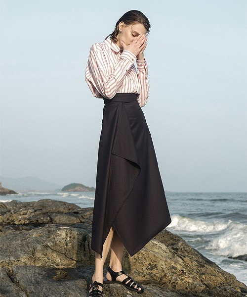 【LeonoraYang】Asymmetric frilled skirt chw1507