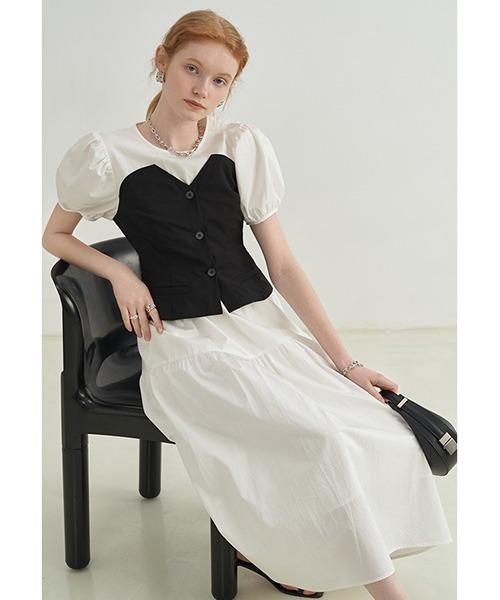 【Fano Studios】【2021SS】layered bustier puff sleeve dress FX21L223