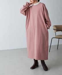バルーンスリーブ ポケット付き スウェットワンピーススモークピンク