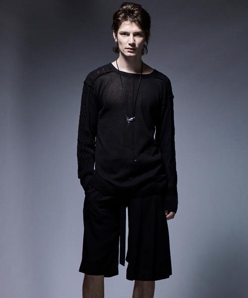kiryuyrik(キリュウキリュウ)の「FrontBackPullover(ニット/セーター)」|ブラック