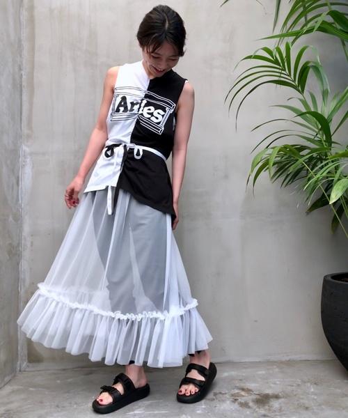 PUBLUX(パブリュクス)の「【in.no/イン ノウ】Tulle dress/チュールドレス(ワンピース)」|ホワイト