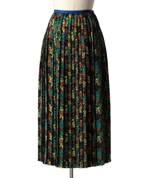 Drawer フラワープリントプリーツスカート