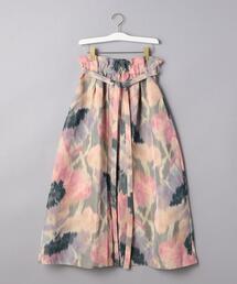 <CURRENTAGE(カレンテージ)>ガーデンプリント ベルテッド スカート